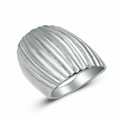 316L Stainless Steel Silver Fashion Women Girl Wide Simple Finger Rings Size 6-8