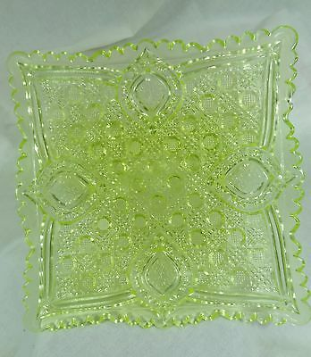 Large Quilted Salad Plate Vaseline Glass by Mosser NEW