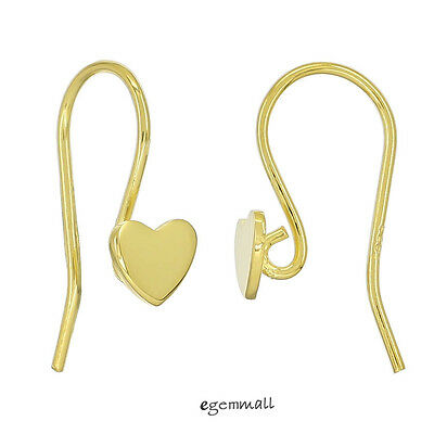 Gold Plated Sterling Silver Heart French Hook Ear Wire Earring Connector #99004