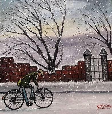 "Cycling without Crossbars  Original 14"" X 14""  Northern Art Oil Painting by COSA"