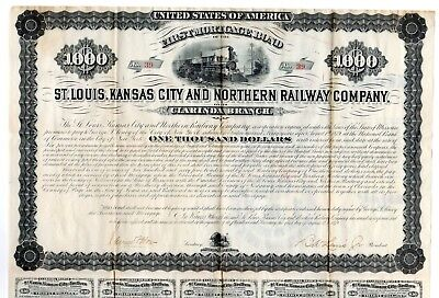 1879 St. Louis, Kansas City and Northern Railway Company Bond
