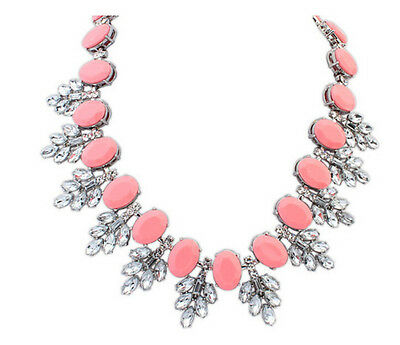 Hot Fashion Nice Crystal Resin Flower Bib Big Statement Charm Chunky Necklace