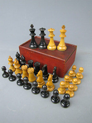 Vintage Carved Wood Chess Set with Antique Tongue & Grove Box Cambridge Mass.