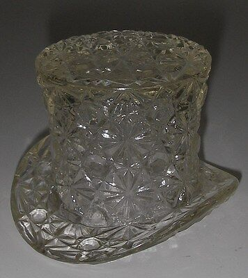 """L G Wright Glass DAISY & BUTTON Clear Top Hat Topper 2½"""""""