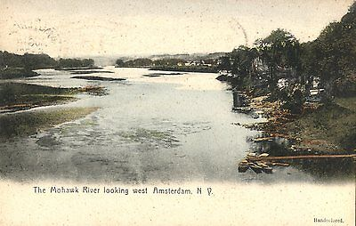New York 1910s Amsterdam NY Mohawk River Looking west old postcard
