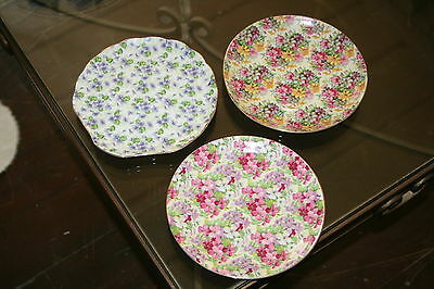 "3 Chintz Lefton & Tuscan Tennis, Snack 7"" Hostess Plates"