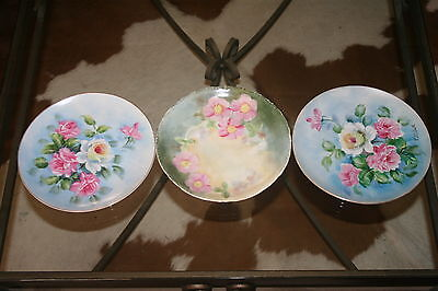"3 Pink, Green & Blue Rose Design 8 1/4"" Plates: 2 Lefton, 1 Bavaria Hand Painted"