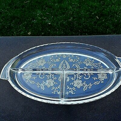 """New Martinsville PRELUDE 3-section RELISH Tray Oval 10¼"""" long"""