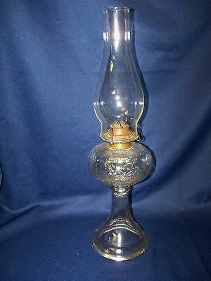 Antique Nosegay Pattern Glass Oil Lamp Circa 1880-1900 Floral with Chimney