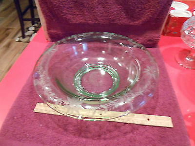 """Depression glass Lancaster bowl green flower etched 12"""" wide, 3 1/4"""" tall"""