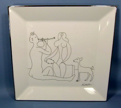 LIMOGES PORCELAIN PLATTER PLATE PABLO PICASSO DRAWING FAUNE ASSIS JOUANT NYMPHE