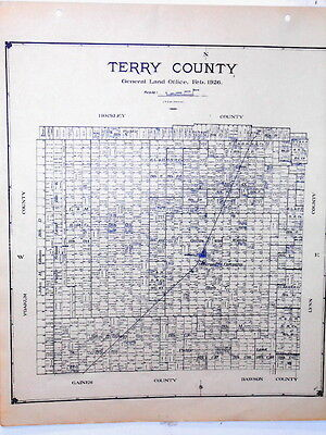 Old Terry County Texas Land Office Owner Map Brownfield Meadow Wellman