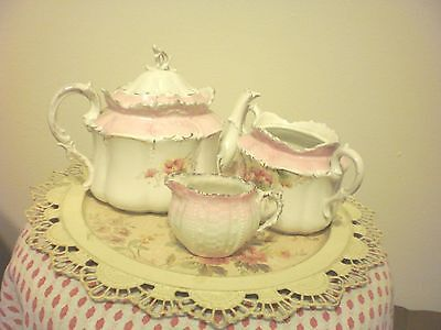 Antique Pink with Shabby & Chic Roses Tea Pot Creamer & Sugar