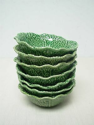 "7 BORDALLO PINHEIRO PORTUGAL GREEN CABBAGE LEAF 6"" CEREAL BERRY FRUIT BOWLS"