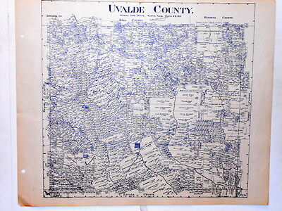 Old Uvalde County Texas Land Office Owner Map Sabinal Knippa Utopia Fort Inge