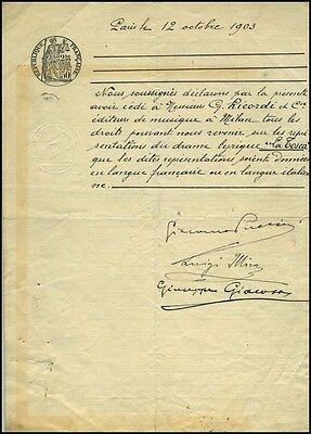 Giacomo PUCCINI (Composer): Contract assigning Tosca rights to Ricordi