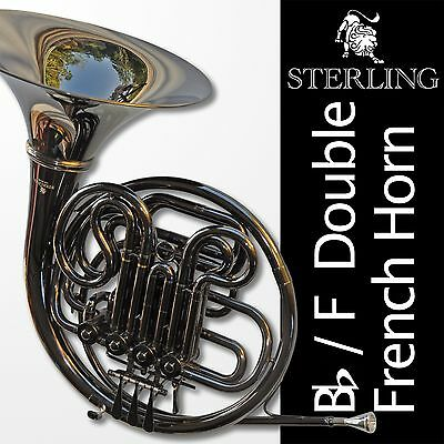 DARK NICKEL Plated STERLING Bb/F Double FRENCH HORN • Pro Backpack Case •