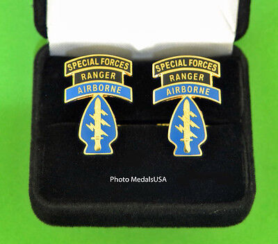 ARMY SPECIAL FORCES  RANGER AIRBORNE Cuff Links & Gift Box DE OPPRESSO LIBER SF