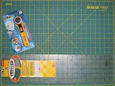 "OLFA SET Rotary Cutter RTY-2/G , Cutting Mat RM-IC-S 24"" x 18"" & Ruler 6"" x 24"""