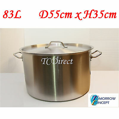 83L 55cm Commercial Stainless Steel Stock Pot Saucepan with Lid (D550xH350)