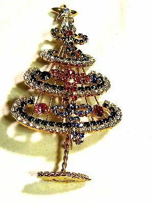 Vintage Tall Christmas Tree Pin Free Stand Up Crystal Encrusted Bows Garlands