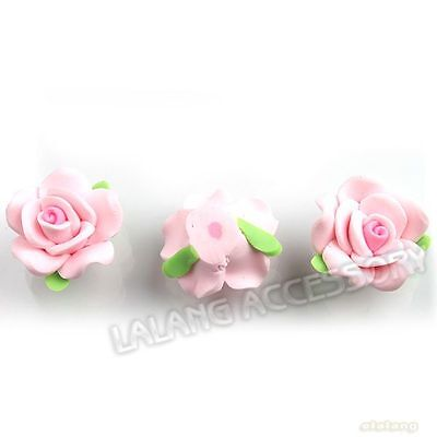 30pcs Nice Cute Light Pink Flowers Flatback Polymer Clay Beads Charms Fit DIY LC
