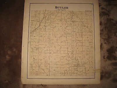 Antique 1875 Butler Township New Castine Darke County Ohio Handcolored Map Nr