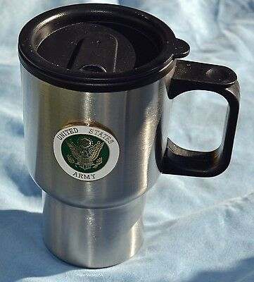 Army Stainless Steel Travel Coffee Mug Cup with No-Spill Lid  USA 14 oz.