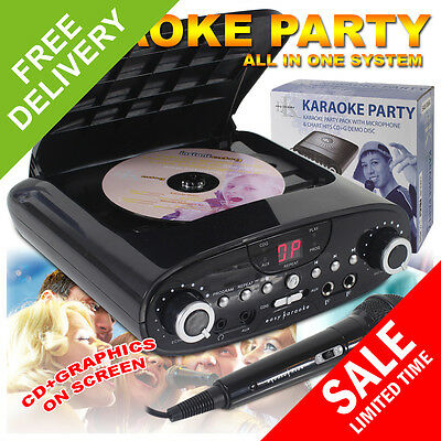 NEW CDG Karaoke Machine MP3 Player System Christmas Kids Party + Microphone