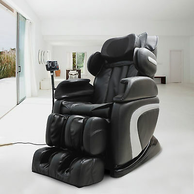HOMCOM Leather Massage Chair Reclining Sofa Full Body Relax w/LED Display Pillow