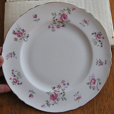 VINTAGE CROWN STAFFORDSHIRE 8 INCH CAKE PLATE - ENGLISH ROSEBUD - NEW IN BOX
