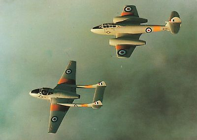 DH.115 Vampire T.11 & Gloster Meteor T.7, colour postcard, unposted