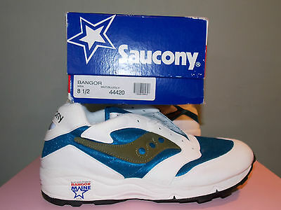 NEW 1990's Saucony Running Sneakers White & Blue Made in USA Men's Size 8 1/2