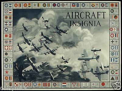 Aircraft Insignia Bombers Fighters NARA USA World War 2 Poster 10x8 Inch Reprint