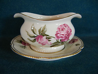 Castleton Peony Round Gravy Boat with Attached Under Plate