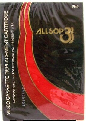 ALLSOP 3 VHS VIDEO CASSETTE TAPE HEAD CLEANER, REPLACEMENT CARTRIDGE SYSTEM NOS