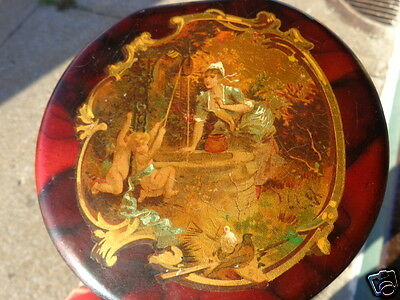 ANTIQUE 19thC VICTORIAN LACQUERED PAPER MACHE FRENCH LADY CHERUB COLLAR BOX OLD