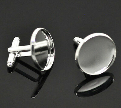50 Silver Nice Plated Cabochon Setting Cuff Links 26x22mm(Fit 20mm)
