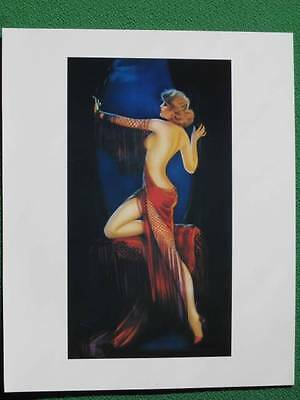 "Art Deco Pinup Girl Art by Irene Patten Sexy ""Lady in Red"" Leg Show Beautiful A+"