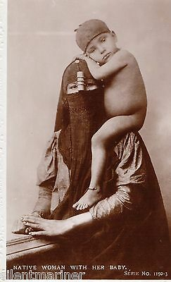 Egypt, Egyptian Native Woman with Her Baby, old RP postcard, unposted
