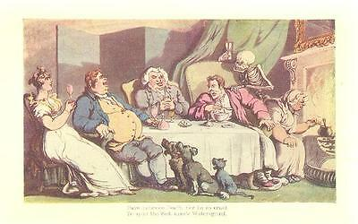 DOGS DINNER FIREPLACE Grim Reaper  Antique Art Print Gothic Macabre Skeleton