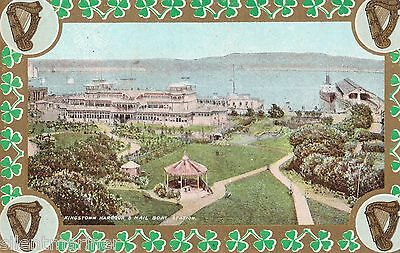 Kingstown / Dún Laoghaire, Co. Dublin, Harbour, old coloured postcard, unposted