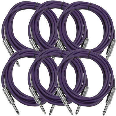 """SEISMIC AUDIO New 6 PACK Purple 1/4"""" TS 10' Patch Cables - Guitar - Instrument"""