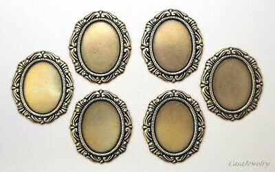 #1152 ANTIQUED GOLD 18 X 13MM FILIGREE BORDERED BEZEL- NO/RING - 6 Pc Lot