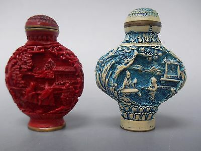 """Chinese Carved Snuff Bottles Set of 2 Blue and Red 2 3/4"""" High Vintage 1970s"""