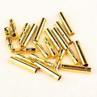 10 Pairs 4.0mm 4mm Gold-plated Bullet Connector Banana Plug RC Battery