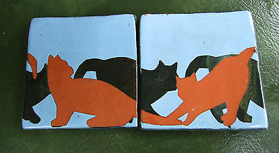 Pair SILHOUETTE CATS Kittens ART TILES Coasters MID CENTURY Redware UNKNOWN MARK