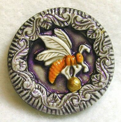 Handcrafted Art Stone Button Bee on Gold Ball Loaded w Details FREE US SHIPPING