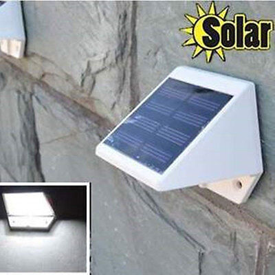 Solar Powered Sensor 2LED Lamp Outdoor Wall Bright White Path Without Battery