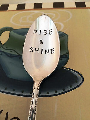 By Vinyl Phrase Craze: Hand Stamped Spoon Rise and Shine Coffee Spoon Vintage